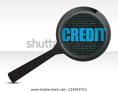 searching for credit illustration design over white - stock photo