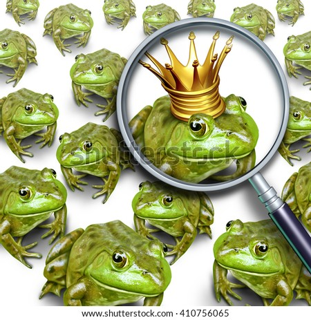 Searching for leadership or search and business recruitment concept as a group of frogs and one individual standing out with a king crown for the right chosen one with 3D illustration elements. - stock photo