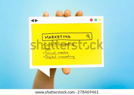 Searching for marketing word. The results is content and digital marketing, seo, social media. - stock photo