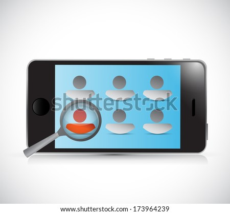 searching for the right candidate on a phone. illustration design over a white background