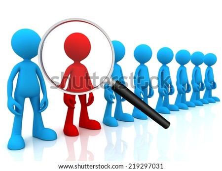 searching person with magnifying glass