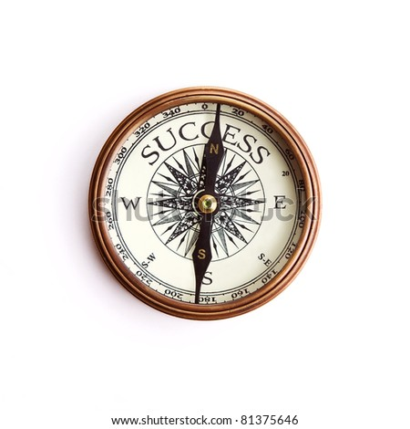 Searching the way to success, concept compass isolated with clipping pat - stock photo
