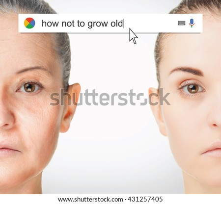 Searching the web for information about not aging - stock photo