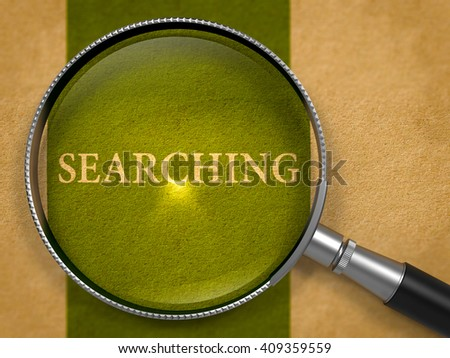 Searching through Loupe on Old Paper with Dark Green Vertical Line Background. 3D Render. - stock photo