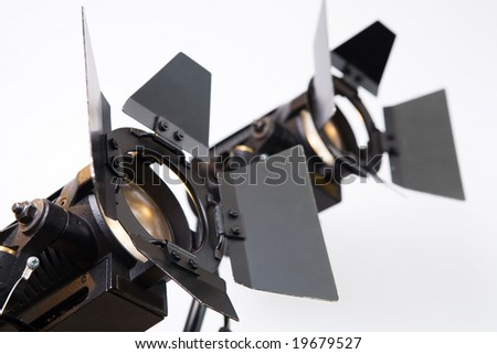 searchlights on white background - stock photo