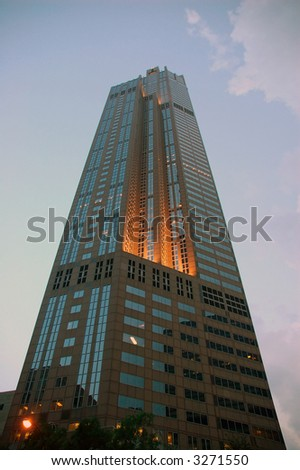 Sears tower prior to nightfall - stock photo