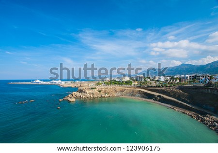 Seascape and city in background, Northern Cyprus, Kyrenia - stock photo