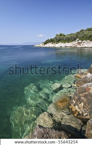 Seascape and rocks, xenia beach - stock photo
