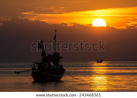 Seascape at sunset. - stock photo