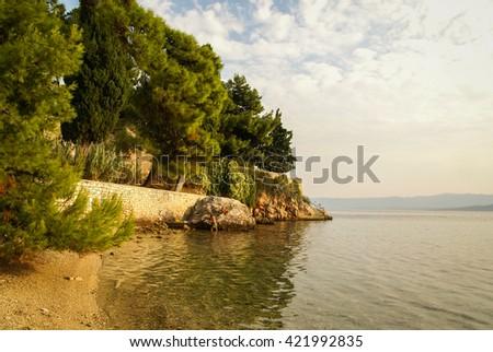 Seascape at sunset at Bol, Brac, Croatia - stock photo