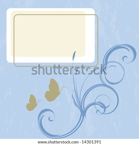 Seascape backdrop with butterflies and cattails and space to add your own copy in JPEG/TIFF format. (Image ID for vector version: 14257441)