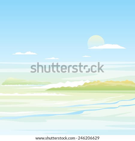 Seascape background with green islands in light colors, nature illustration - stock photo