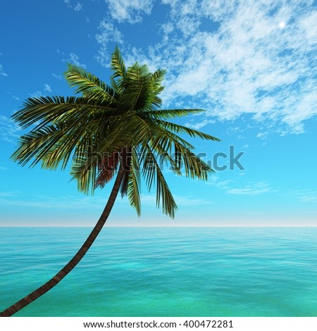 seascape beach coconut palm and sea, 3D rendering - stock photo