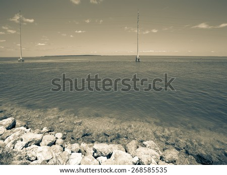 Seascape by the road to Key West. Toned. - stock photo