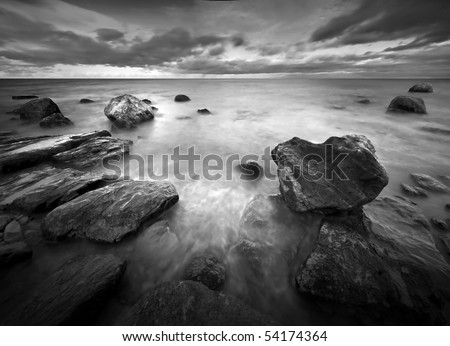 Seascape by ultra-wide lens - stock photo