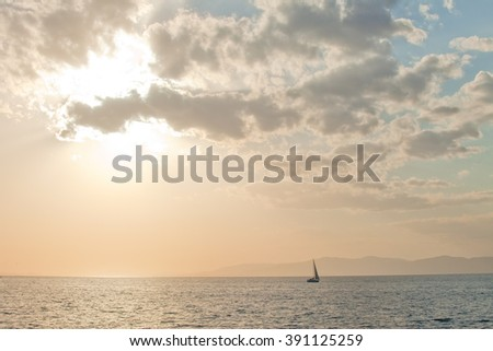seascape charming sunset in the Sea of Japan - stock photo