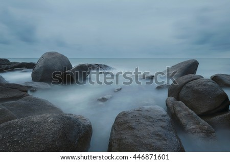 Seascape during sundown. Beautiful natural summer seascape , Larn Hin Kaw Beach, Rayong,Thailand - stock photo
