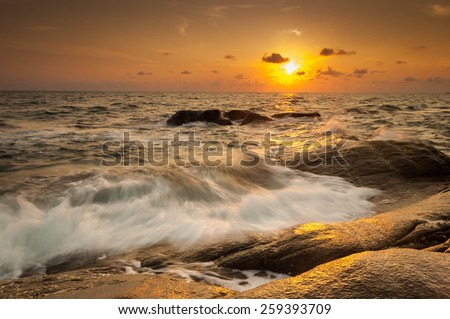 Seascape during sunset. Beautiful natural seascape - stock photo