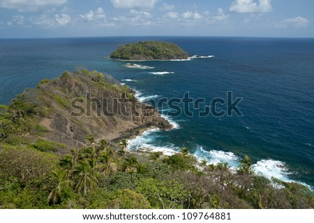 Seascape from Isla Grande shore. Colon province, Panama, Caribbean, Central America.