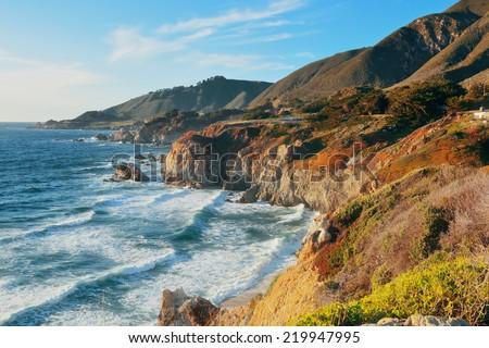 Seascape in Big Sur in California. - stock photo