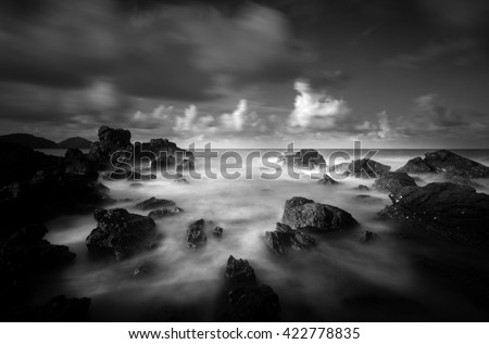 seascape  in black and white - stock photo