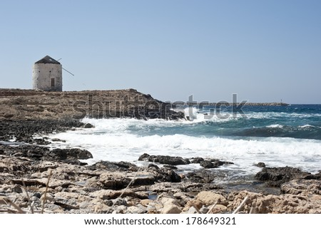 Seascape in Dodecanese Greece - stock photo