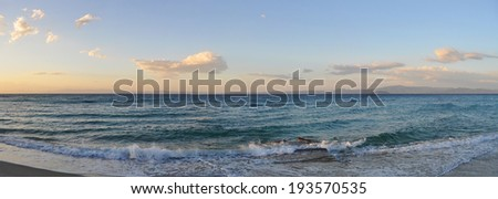 Seascape in the evening - panoramic view - stock photo