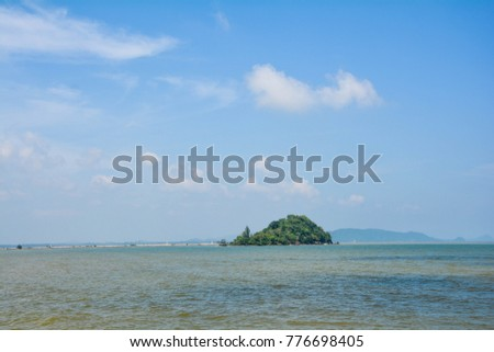seascape island mountain clouds sky and stone beauty in south Thailand