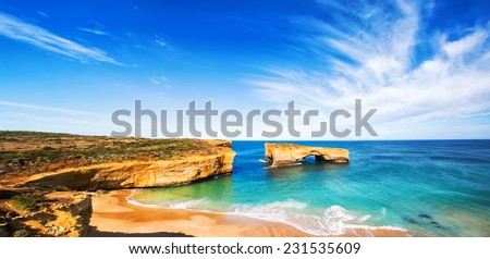 seascape,landscape and skyline of the great ocean road,australia - stock photo