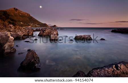 Seascape lighted by moon just after sunset (Maratea, Basilicata - Italy) - stock photo