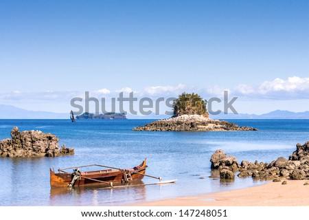 Seascape near Nosy Be island, northern Madagascar - stock photo