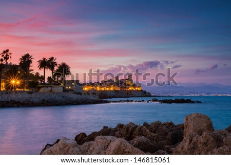 Seascape of Antibes at Sunset, Provence, France - stock photo