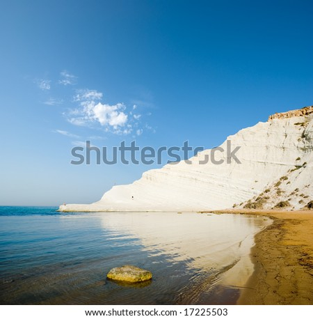 seascape of bay with white rock - stock photo