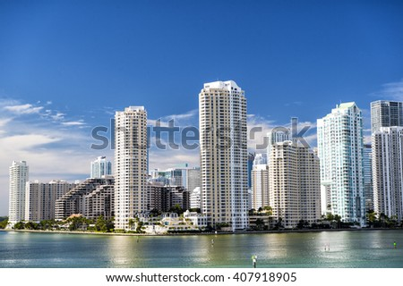 Seascape of Bayside in Miami with boat and skyscrapers in downtown
