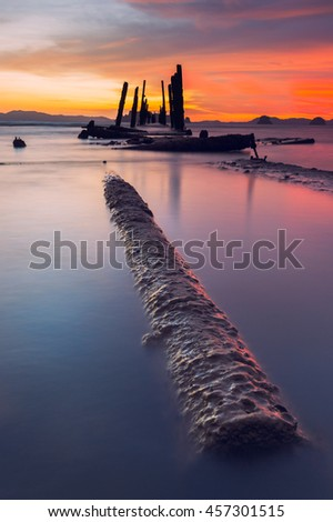 Seascape of Klong muang beach at sunset, Krabi, Southern of Thailand - stock photo