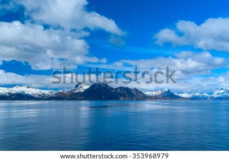 Seascape of Lofoten in Norway - stock photo