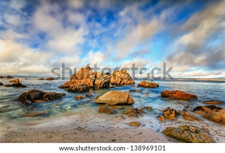 Seascape of Monterey Bay in Pacific Grove, California at Sunset - stock photo