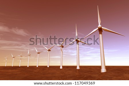 Seascape of offshore wind turbines during sunset - stock photo