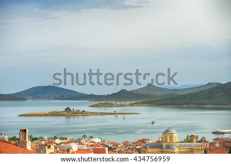 Seascape of touristic town, Cunda Alibey Island, Ayvalik. It is a small island in the northwestern Aegean Sea, off the coast of Ayvalik in Balikesir Turkey.