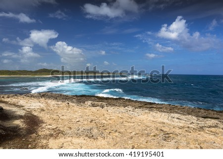 Seascape on a windy day at cape Pointe des Chateaux in Guadeloupe