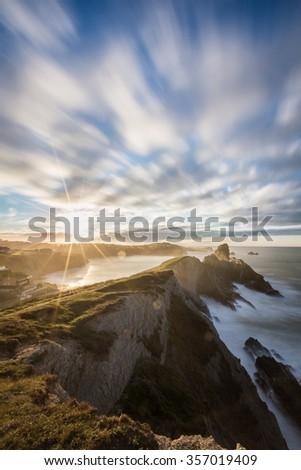 seascape on the Atlantic coast of spain - stock photo