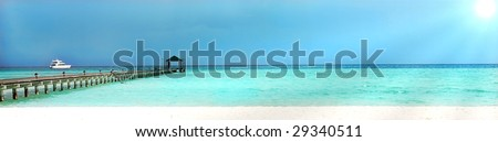 seascape panoramic with bridge and yacht - stock photo