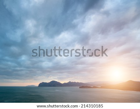 seascape photographed on a summer day - stock photo
