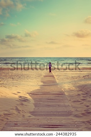 seascape. Retro stale - stock photo