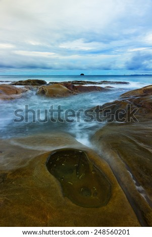 Seascape scenery of Tip of Borneo - stock photo