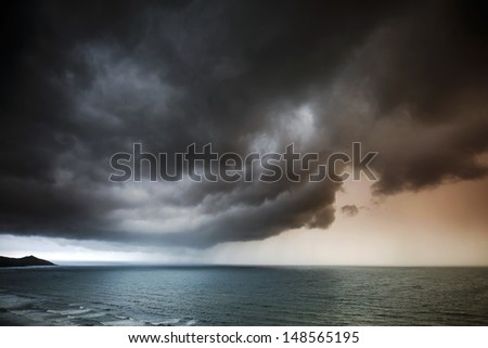 Seascape - Stormy Skies Over Sea.