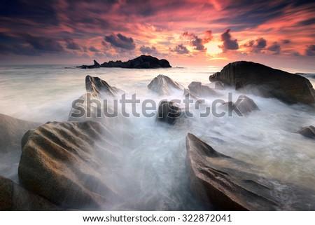 Seascape sunrise at Penunjuk Beach, Kemaman Malaysia - stock photo