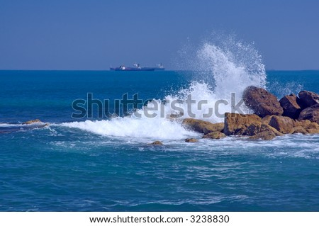 seascape, surf and ships - stock photo