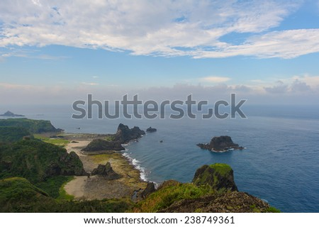 seascape view from a hillside at green island,Taiwan - stock photo