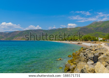Seascape view of island in Greece at summer sunny day